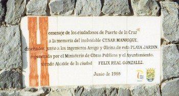 Playa Jardin Monumento Cesar Manrique Placa original