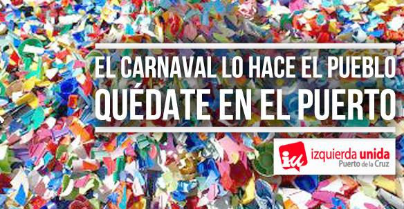 Izquierda Unida pone en marcha una campaña para reivindicar el Carnaval de Puerto de la Cruz
