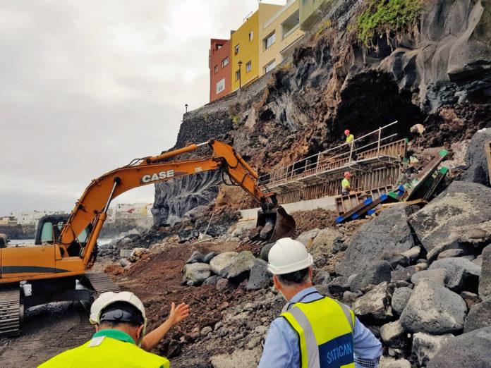 Obras en las cuevas bajo la calle Tegueste en Punta Brava