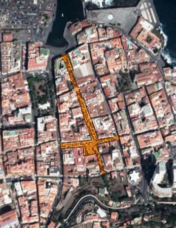 Zona Urbana afectada por las obras de remodelación