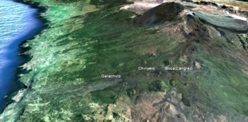 SITUACION RELATIVA DE GARACHICO Y VOLCANES