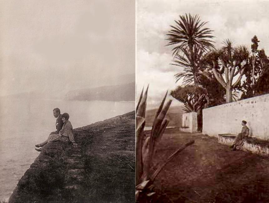 A la izquierda Leopoldo Cólogan Zulueta y su esposa al borde del Acantilado -Autor anónimo - A la derecha, zona final del Paseo de los Cipreses