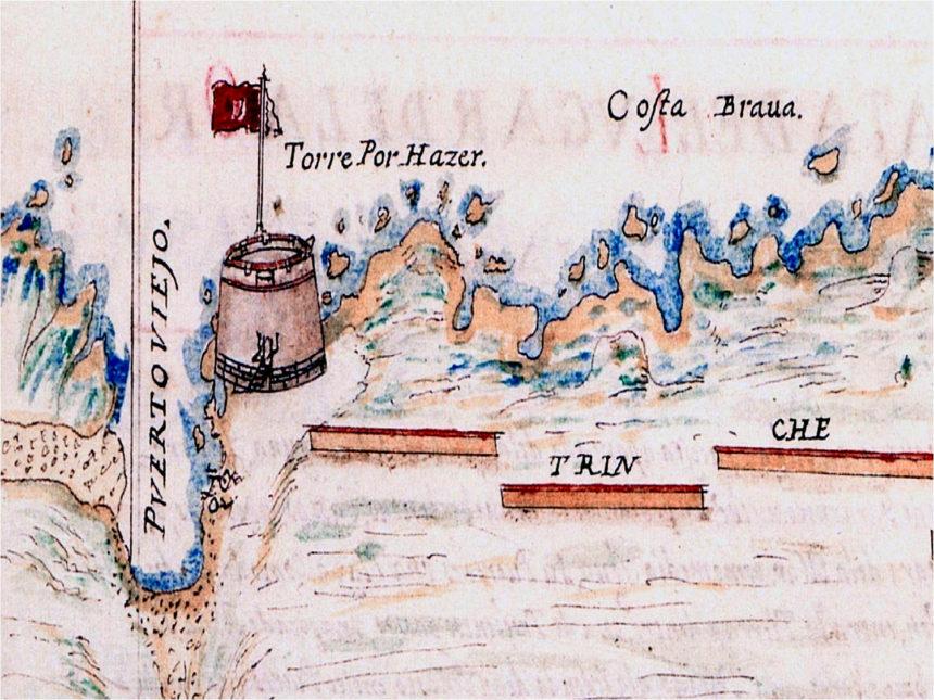 """Fragmento del plano de P. Casola. Se ve el castillo, con la leyenda """"Torre por hacer"""". 1634"""