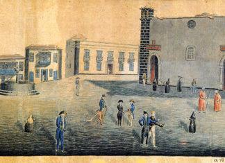 Dibujo de Alvarez Rixo de 1828 de la Plaza Parroquial y la Iglesia de la Peña de Francia