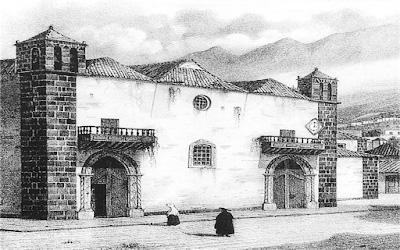 Detalle de un dibujo de J. J. Williams con la fachada de la parroquia