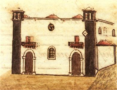 Fachada de la Parroquia según dibujo realizado por Álvarez Rixo