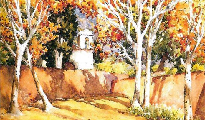 Ermita de San Amaro representada en una acuarela por Francisco Bonnín