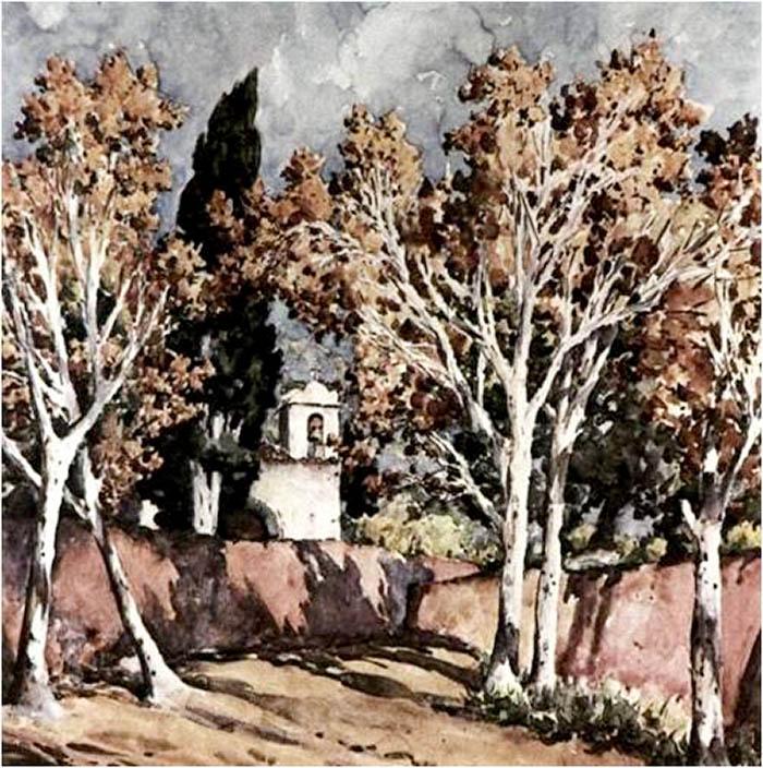 Ermita de San Amaro - Acuarela de Francisco Bonnín Guerín