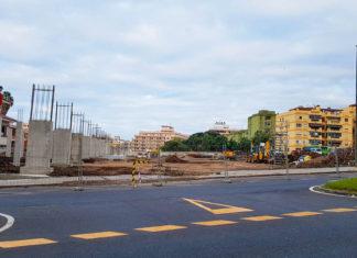 Obras en la nueva estación de guaguas