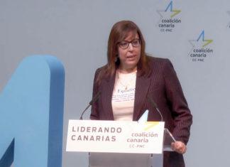 Sandra Rodríguez en un reciente acto político de Coalición Canaria
