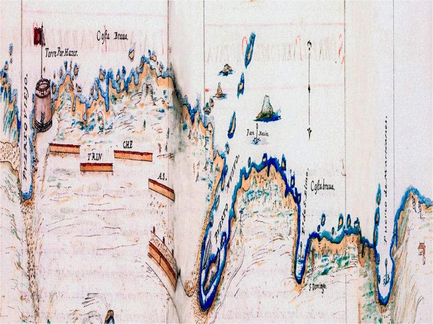 """Fragmento del plano de Próspero Casola, con las """"trincheas"""" (1634)"""
