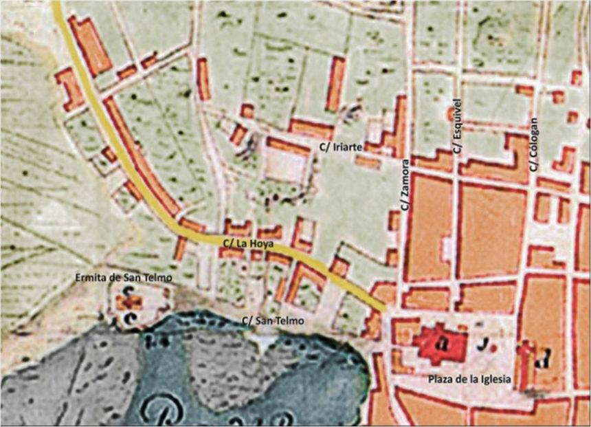 Fragmento del plano de A. de la Riviere con la calle de La Hoya (1741)