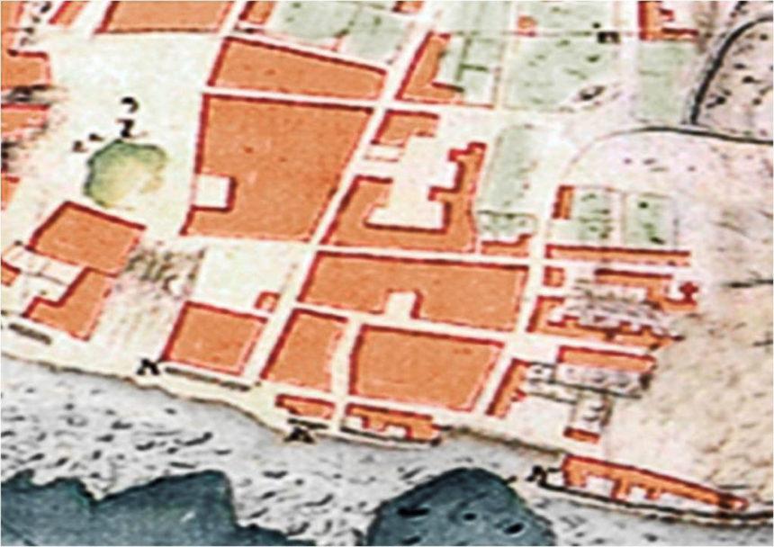 Fragmento del Plano de A. de la Riviere, mostrando La Ranilla (1741)