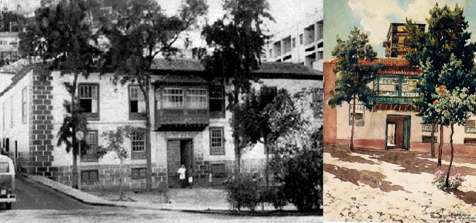 Imagen antigua de la Casa Ventoso y a la derecha acuarela de Francisco Bonnin del edificio