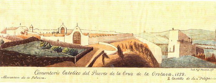 Ilustración de Álvarez Rixo realizada en 1852 del Cementerio de San Carlos
