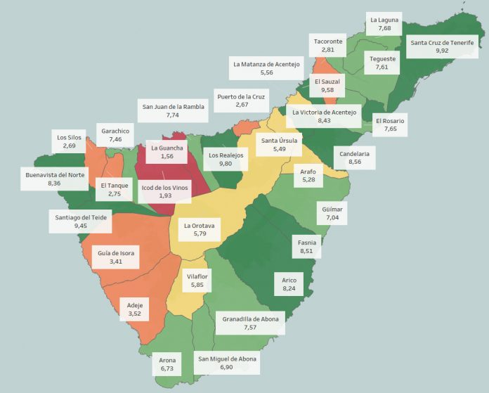 Mapa indice de transparencia Ayuntamientos de Tenerife 2018