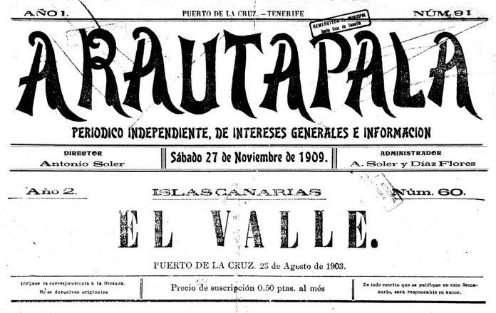 Cabeceras de los periódicos Arautápala y El Valle publicados en el Puerto de la Cruz