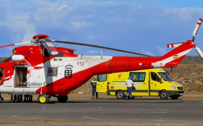 Helicoptero del GES y Ambulacia del SUC que intervinieron