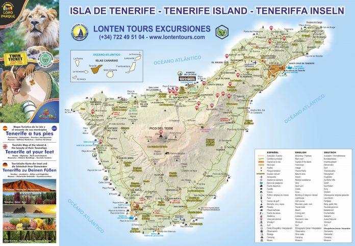 Mapa de Tenerife promovido por Lonten Tours - anverso