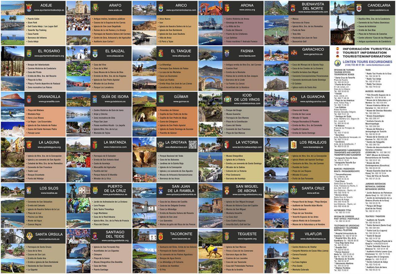 Mapa de Tenerife promovido por Lonten Tours - reverso
