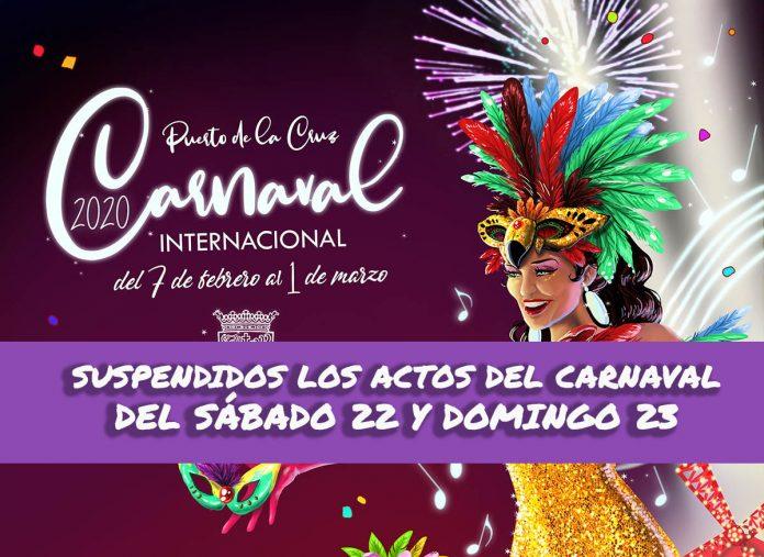 Suspensión de actos del Carnaval de sabado 22 y domingo 23 de febrero